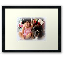 Girl And Dog Portrait Framed Print