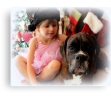 Girl And Dog Portrait Canvas Print