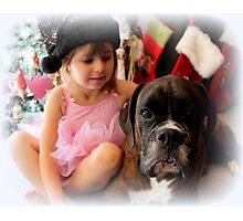 Girl And Dog Portrait Photographic Print