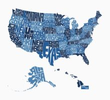 USA Type Map (Blue) by seanings