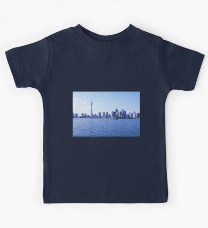 CN Tower Skyline Blue Kids Tee
