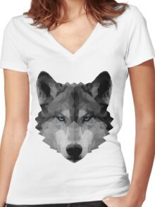 Polygon Wolf Women's Fitted V-Neck T-Shirt