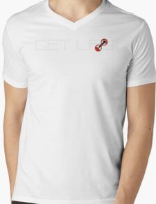 GetLF8d Logo + Name Mens V-Neck T-Shirt