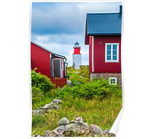 Red Houses and Lighthouse Poster