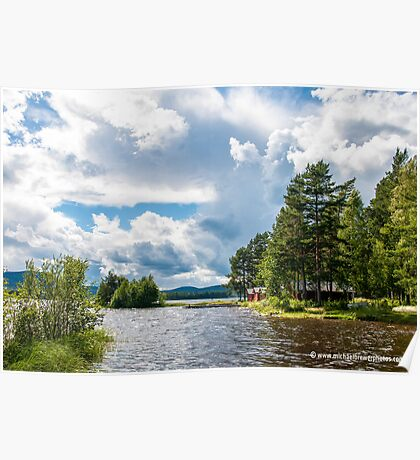 Swedish Lake and Clouds Poster