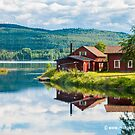 Red House on a Swedish Lake by Michael Brewer