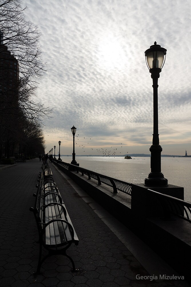 A Quiet, Peaceful Esplanade - New York City, Hudson River by Georgia Mizuleva