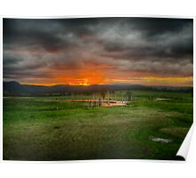 Clarence overflow oxbow sunset, Tabulam NSW Poster