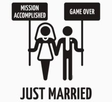 Just Married – Mission Accomplished – Game Over (Black) by MrFaulbaum