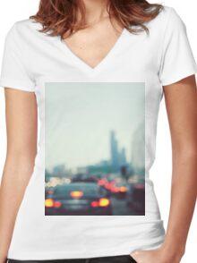 Chicago Lights Women's Fitted V-Neck T-Shirt