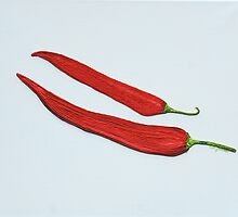 Red Chillies String Art by cathy savels