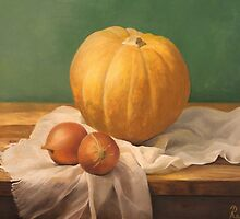 Still life painting with a pumpkin by RadulovMilosArt
