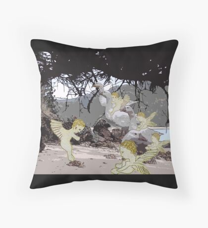 Baby Angels playing in the sand. Throw Pillow