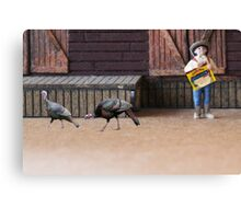 It's a trick…run!!!!  When he said 'turkey wraps', he wasn't getting coats for us!!!! Canvas Print