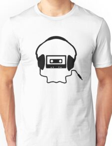Tape Headphones and a Skull T-Shirt