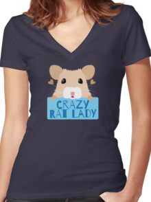 CUTE crazy rat lady (in cream colour) Women's Fitted V-Neck T-Shirt