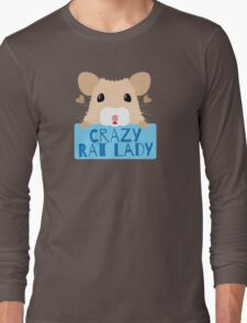 CUTE crazy rat lady (in cream colour) Long Sleeve T-Shirt