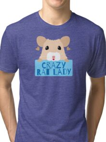 CUTE crazy rat lady (in cream colour) Tri-blend T-Shirt