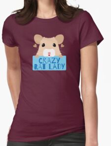 CUTE crazy rat lady (in cream colour) Womens Fitted T-Shirt