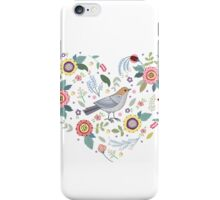 Romantic bird with flowers in vintage style iPhone Case/Skin
