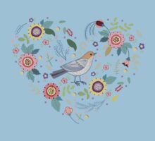 Romantic bird with flowers in vintage style One Piece - Short Sleeve