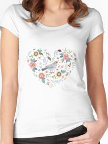 Romantic bird with flowers in vintage style Women's Fitted Scoop T-Shirt