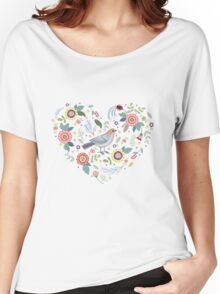 Romantic bird with flowers in vintage style Women's Relaxed Fit T-Shirt