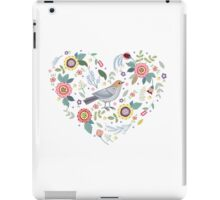 Romantic bird with flowers in vintage style iPad Case/Skin