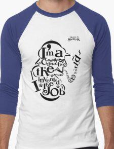 Sherlock Typography Men's Baseball ¾ T-Shirt