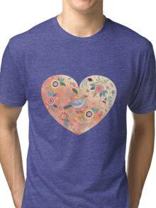 Romantic heart  bird and flowers Tri-blend T-Shirt