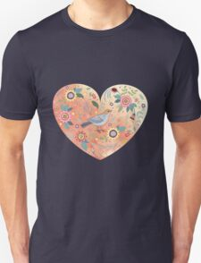 Romantic heart  bird and flowers T-Shirt