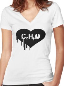Alcohol - Ethanol Women's Fitted V-Neck T-Shirt