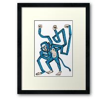 City hipster blue monkey Framed Print