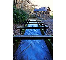 Water rushing down millrace towards historical Mingus Mill Photographic Print