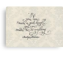 Inspirational handwritten quote about girls Canvas Print
