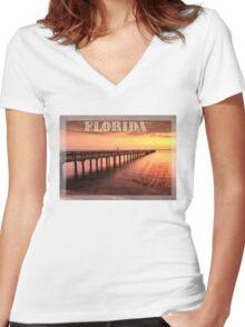 Sunset/sundusk over harbor Women's Fitted V-Neck T-Shirt