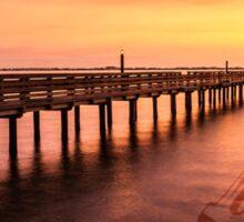 Sunset/sundusk over harbor Sticker