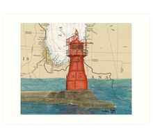Gary Harbor Lighthouse IN Nautical Chart Cathy Peek Art Print
