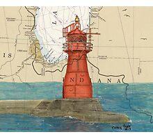 Gary Harbor Lighthouse IN Nautical Chart Cathy Peek Photographic Print