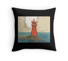 Gary Harbor Lighthouse IN Nautical Chart Cathy Peek Throw Pillow