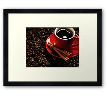 Cup of Coffe on Coffee Beans art photo print Framed Print