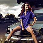 Young Woman Sitting on a Crashed Car art photo print by ArtNudePhotos