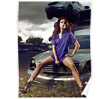 Young Woman Sitting on a Crashed Car art photo print Poster