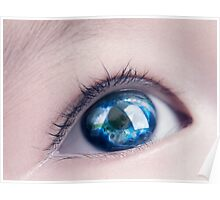 Child eye with world map reflecting in it art photo print Poster