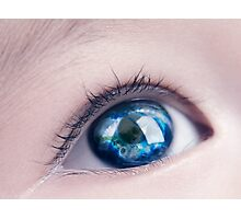 Child eye with world map reflecting in it art photo print Photographic Print