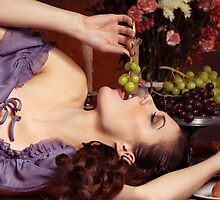 Beautiful Woman Eating Grapes on a Festive Table art photo print by ArtNudePhotos