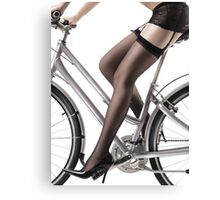 Sexy Woman Riding a Bike art photo print Canvas Print