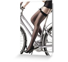 Sexy Woman Riding a Bike art photo print Greeting Card