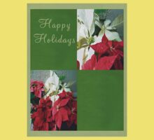 Mixed color Poinsettias 3 Happy Holidays Q5F1 One Piece - Short Sleeve