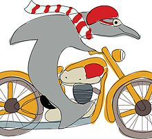 Dolphin Riding a Motorcycle by Kate Foray